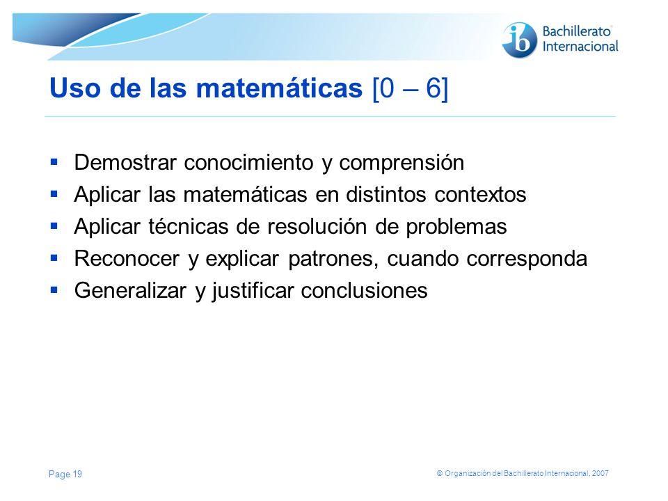 Uso de las matemáticas [0 – 6]